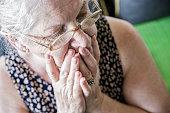 Sad lonely pensive old senior woman - Memories