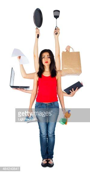 Sad Multitasking Woman : Stock Photo