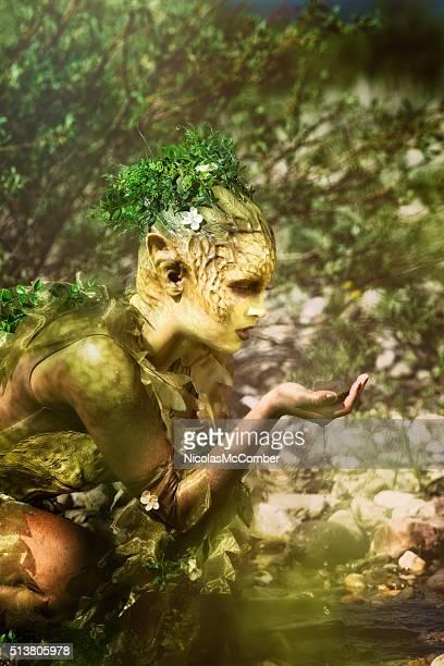 Traurig Natur Wasser Nymphe schaut an einem nassen Fels