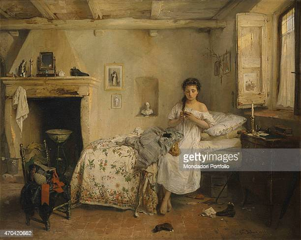 'Sad Presentiment by Girolamo Induno 19th Century oil on canvas 67 x 86 cm Italy Lombardy Milan Brera Art Gallery Whole artwork view In a bedroom...