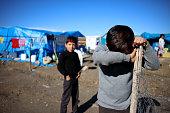 Sad child, Activity, Camping, Street, Syria