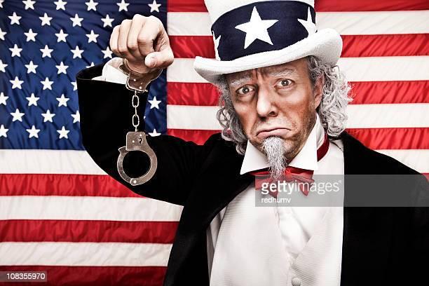 Sad Uncle Sam in Handcuffs
