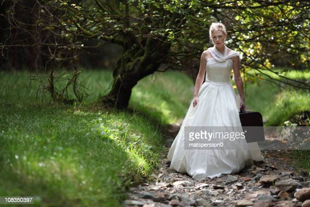 Sad vintage bride traveling