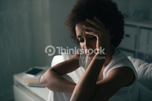 Sad woman suffering from insomnia : Stock Photo