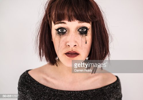 Sad Young Woman Crying With Black Mascara Tears Stock
