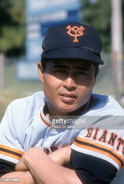 Sadaharu OH of the Yomiuri Giants looks on during batting practice before and exhibition game against the Los Angeles Dodgers circa 1970 at Dodger...