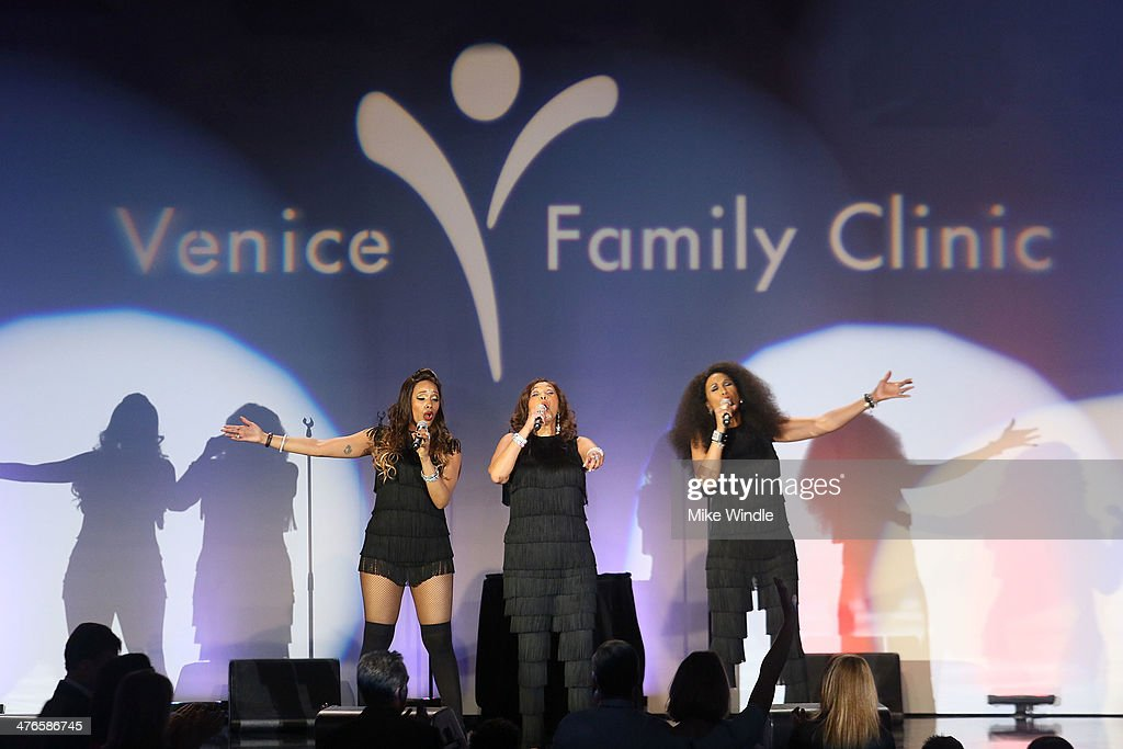 Sadako Johnson, Anita Pointer, and Ruth Pointer of the Pointer Sisters perform onstage at the Venice Family Clinic's 32nd Annual Silver Circle Gala held at The Beverly Hilton Hotel on March 3, 2014 in Beverly Hills, California.
