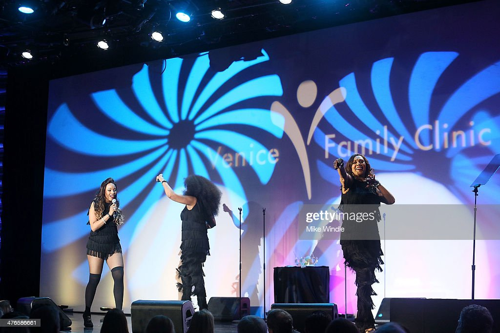 Sadako Johnson, Ruth Pointer, and Anita Pointer of the Pointer Sisters perform onstage at the Venice Family Clinic's 32nd Annual Silver Circle Gala held at The Beverly Hilton Hotel on March 3, 2014 in Beverly Hills, California.