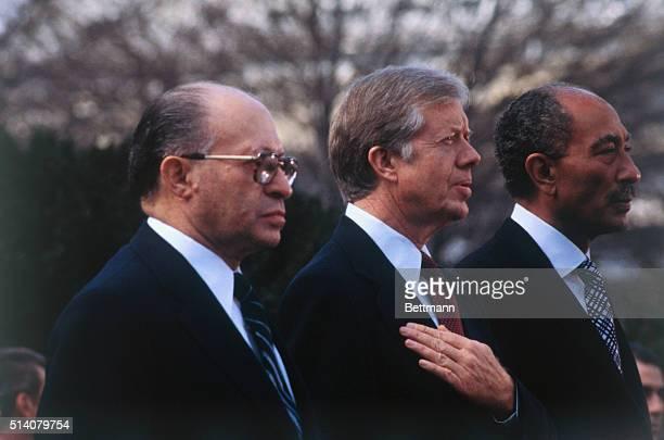 Sadat Carter and Begin at White House