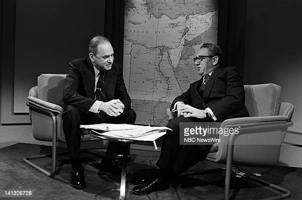 NBC NEWS 'Sadat's Visit to Israel Henry Kissinger Edwin Newman Discussion' Aired 1977 Pictured NBC News' Edwin Newman former US Secretary of State...