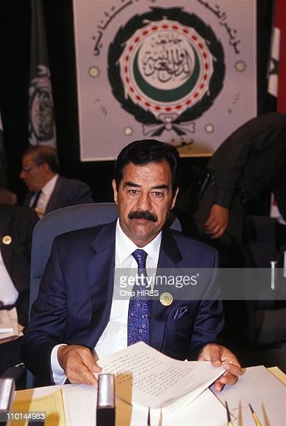 Saddam Hussein at Baghdad Arab summit in Baghdad Iraq on May 28 1990