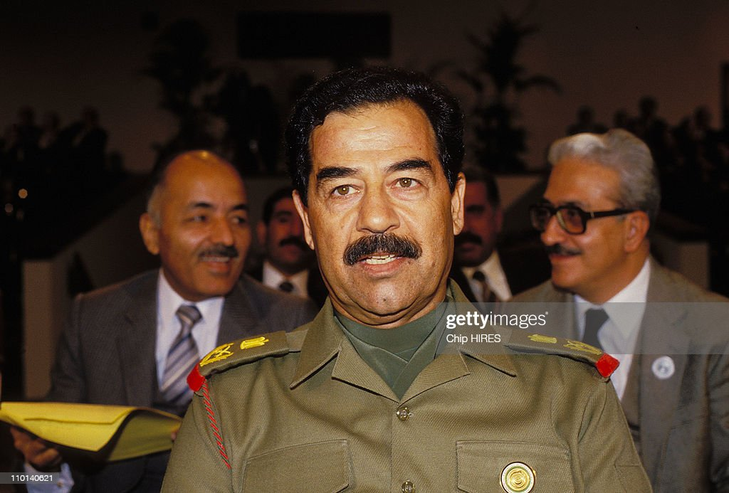 <a gi-track='captionPersonalityLinkClicked' href=/galleries/search?phrase=Saddam+Hussein&family=editorial&specificpeople=121553 ng-click='$event.stopPropagation()'>Saddam Hussein</a> in Amman, Jordan on November 11, 1987.