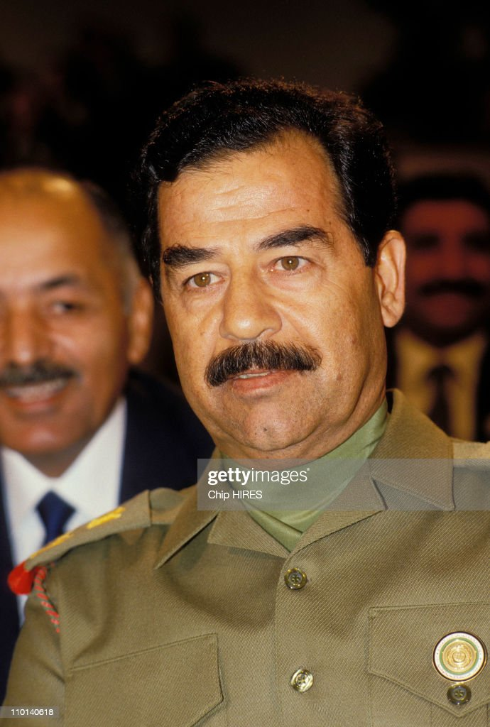 <a gi-track='captionPersonalityLinkClicked' href=/galleries/search?phrase=Saddam+Hussein&family=editorial&specificpeople=121553 ng-click='$event.stopPropagation()'>Saddam Hussein</a> in Amman, Jordan on November 8, 1987.