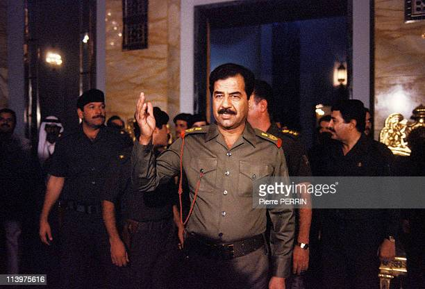Saddam Hussein welcomes his people In Baghdad Iraq On October 17 1983