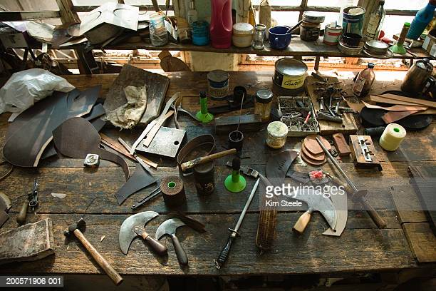 Saddle making workshop bench, Palermo Viejo, Buenos Aires, Argentina