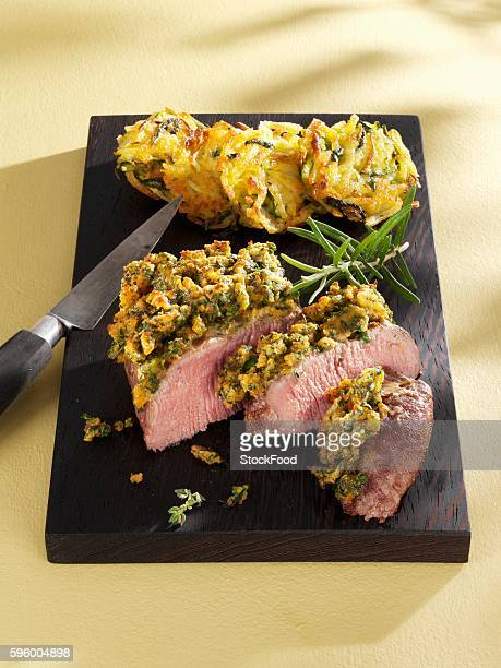 Saddle of lamb baked with pesto