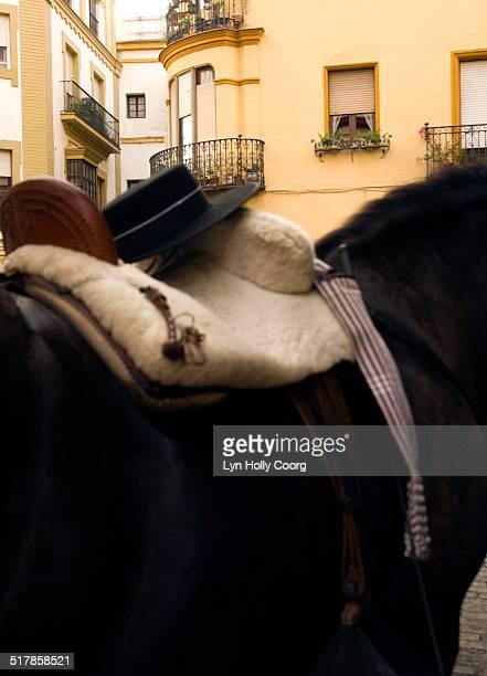 Saddled horse with Spanish fedora hat in Seville