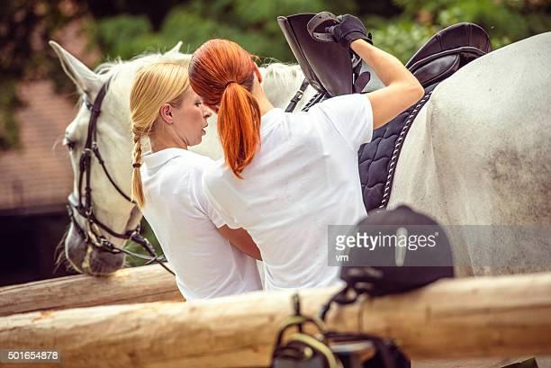 Saddling a white horse