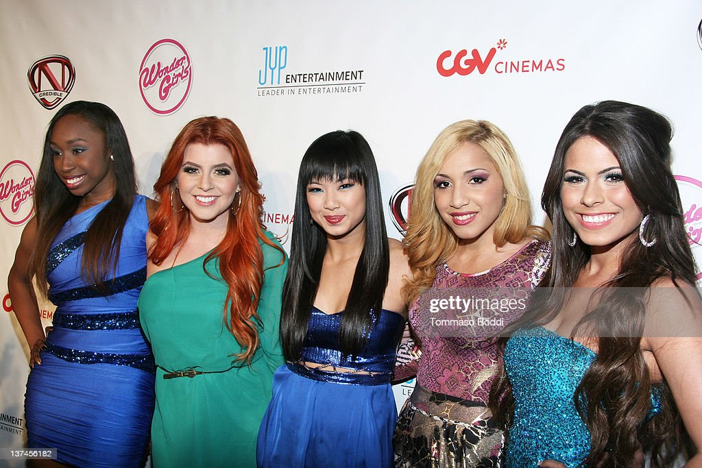 Sade Austin, Lauren Chavez, Monica Parales, Rae Bello and Natalie Aguero from School Gyrls attend 'The Wonder Girls' Los Angeles premiere held at the CGV Cinemas on January 20, 2012 in Los Angeles, California.