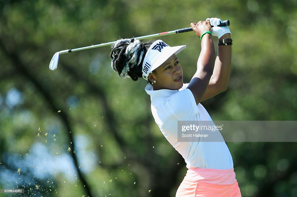 Sadena Parks hits her approach shot on the first hole during the first round of the Volunteers of America Texas Shootout at Las Colinas Country Club on April 28, 2016 in Irving, Texas.