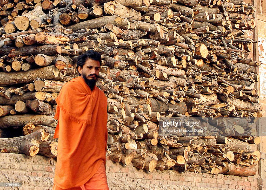 Sadhu at cremation ghat : Stock Photo