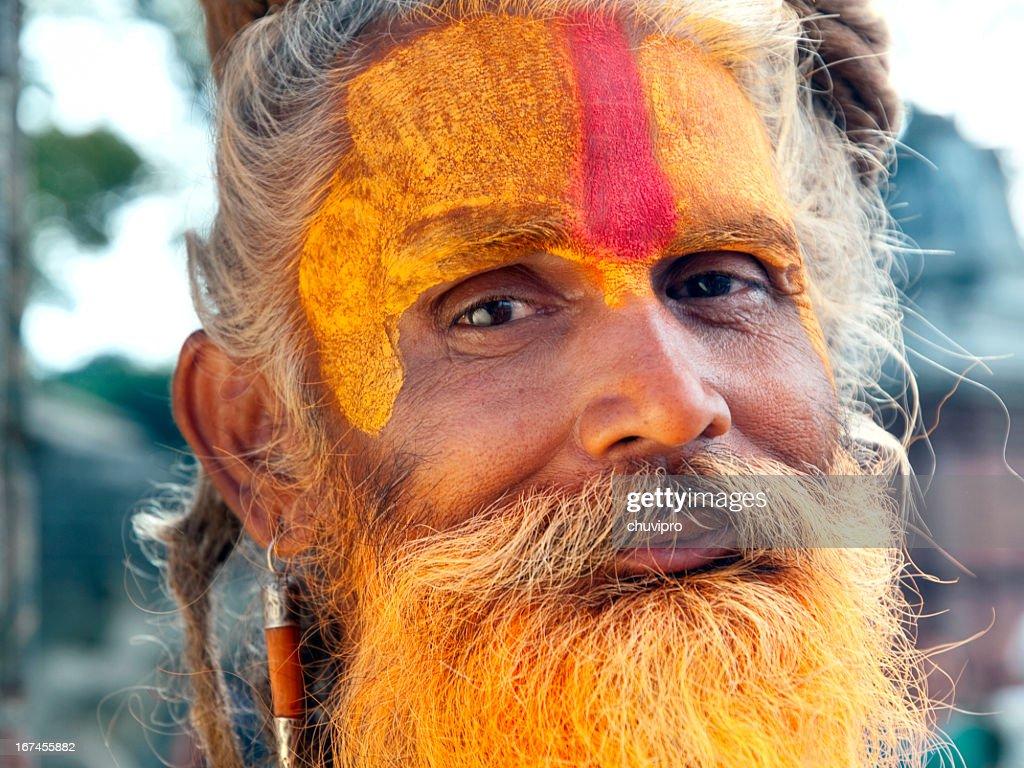 Sadhu close-up portrait : Stock Photo