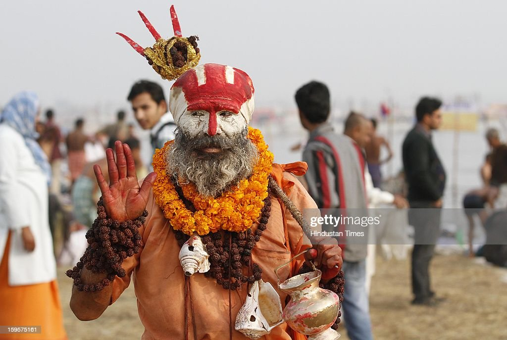 A Sadhu during Kumbh Mela, on January 16, 2013 in Allahabad, India. Kumbh is World's biggest religious gathering, in which more than 100 million of Hindus and sikh devotees will take part over next 55 days. Apart from being pilgrimage of faith, salvation and hope for millions of devotees, it also serve as meeting ground for the vast spectrum of Indian religious and spiritual views.