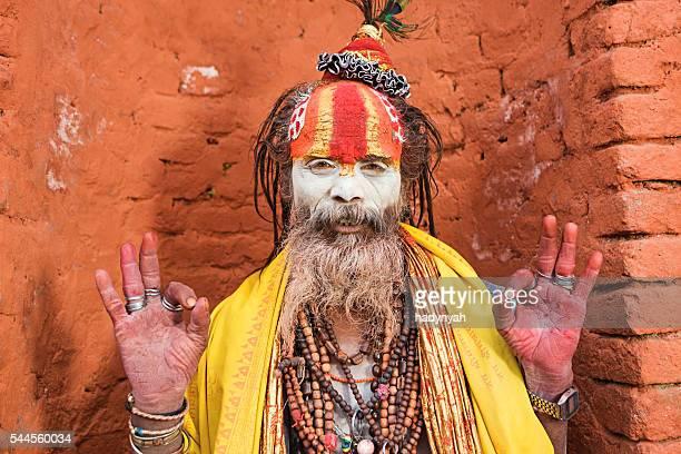 Sadhu - indian holyman sitting in the temple, Kathmandu, Nepal