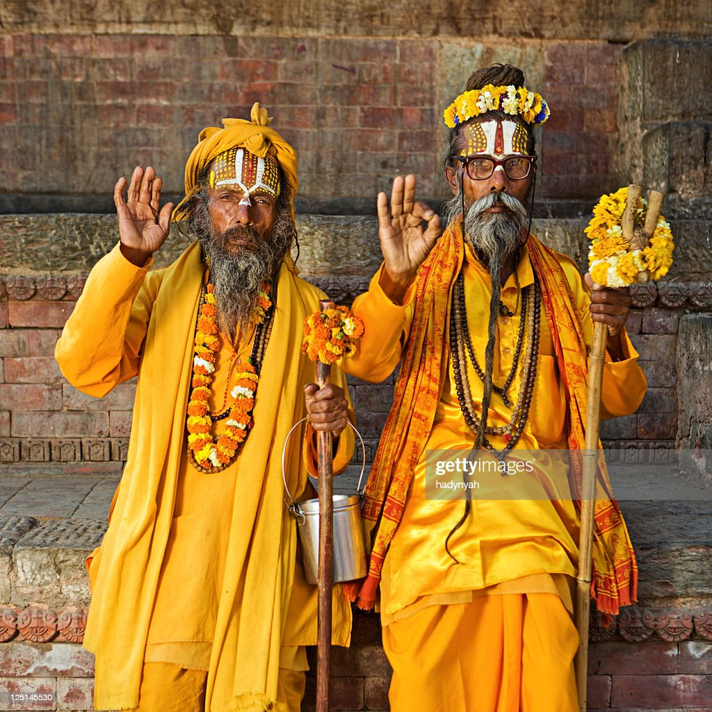 Sadhu - indian holyman sitting in the temple : Stock Photo