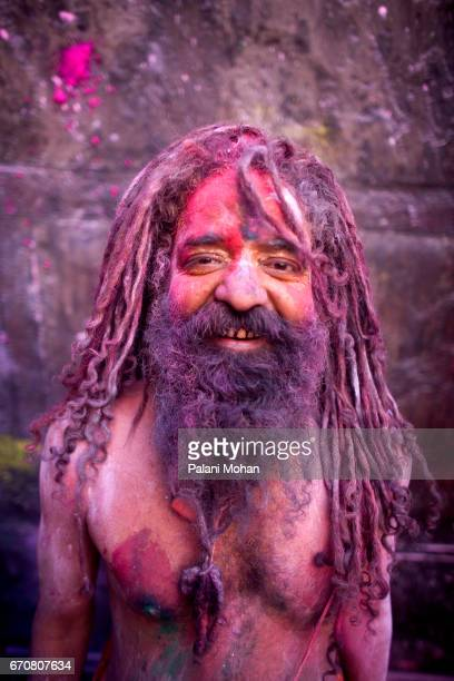 Sadhu or a holy arrives at the Sri Banke Bihari Temple as he celebrate Holi the festival of colour March 22 2008 in Vrindavan India Holi is...