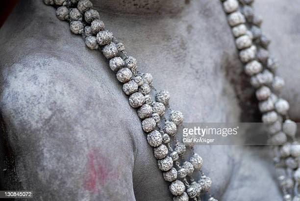 Sadhu, practitioner of yoga and monk, wearing a Rudraksha rosary, Pongal festival, Trivandrum, Thiruvananthapuram, Kerala, South India, India, Asia