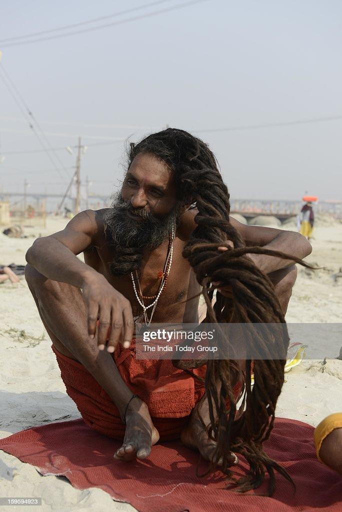 Sadhus at the Maha Kumbh Mela at Allahabad on January 15, 2013.