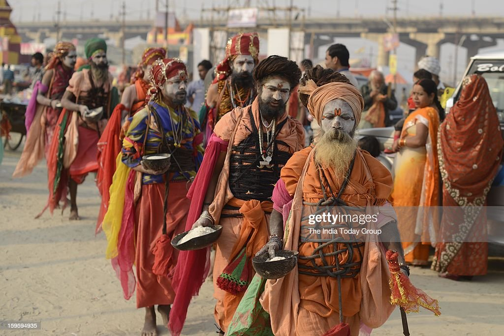 Sadhus at the Maha Kumbh Mela at Allahabad on January 15, 2013.
