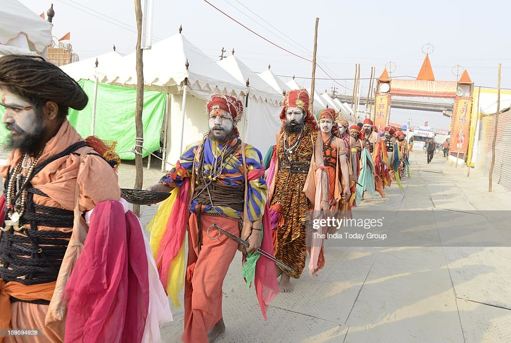 Sadhus at the Maha Kumbh Mela at Allahabad on January 15, 2013.(Photo by Vikram Sharma/India Today Group/Getty Images)Group/Getty Images)
