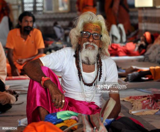 Sadhus or Hindu holy men rest at the Amarnath Yatra base camp on July 3 2015 in Jammu India The fifth batch of more than 3000 pilgrims left for the...