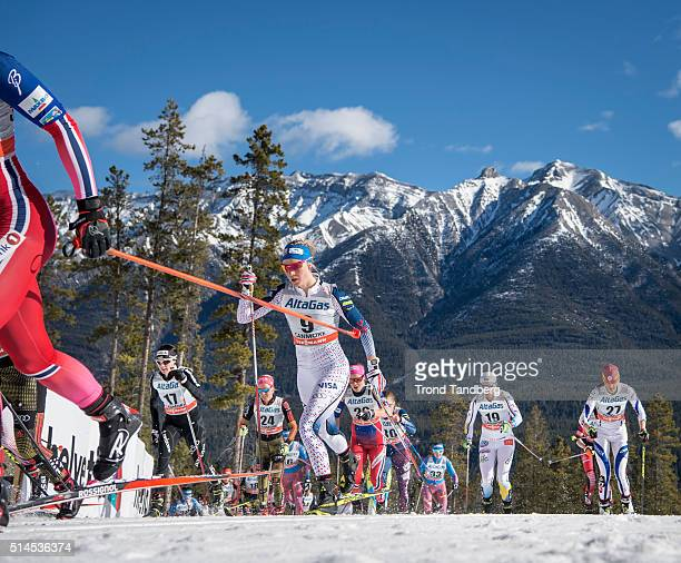 Sadie Bjornsen during Cross Country Ladies Skiathlon 75 km Classic 75 km Free on March 09 2016 in Canmore Canada
