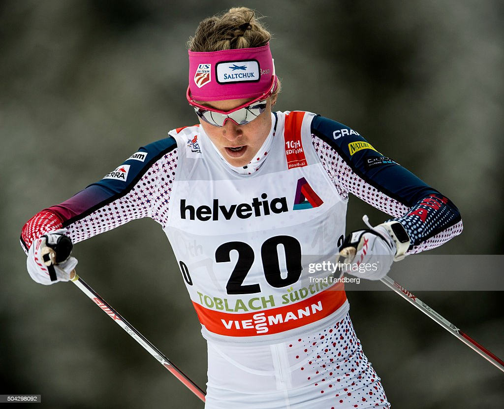 Sadie Bjornsen of USA during FIS Cross Country World Cup, Tour de Ski, Ladies 5,0 km Individual Free at Toblach on January 08, 2016 in Toblach Hochpustertal, Italy.