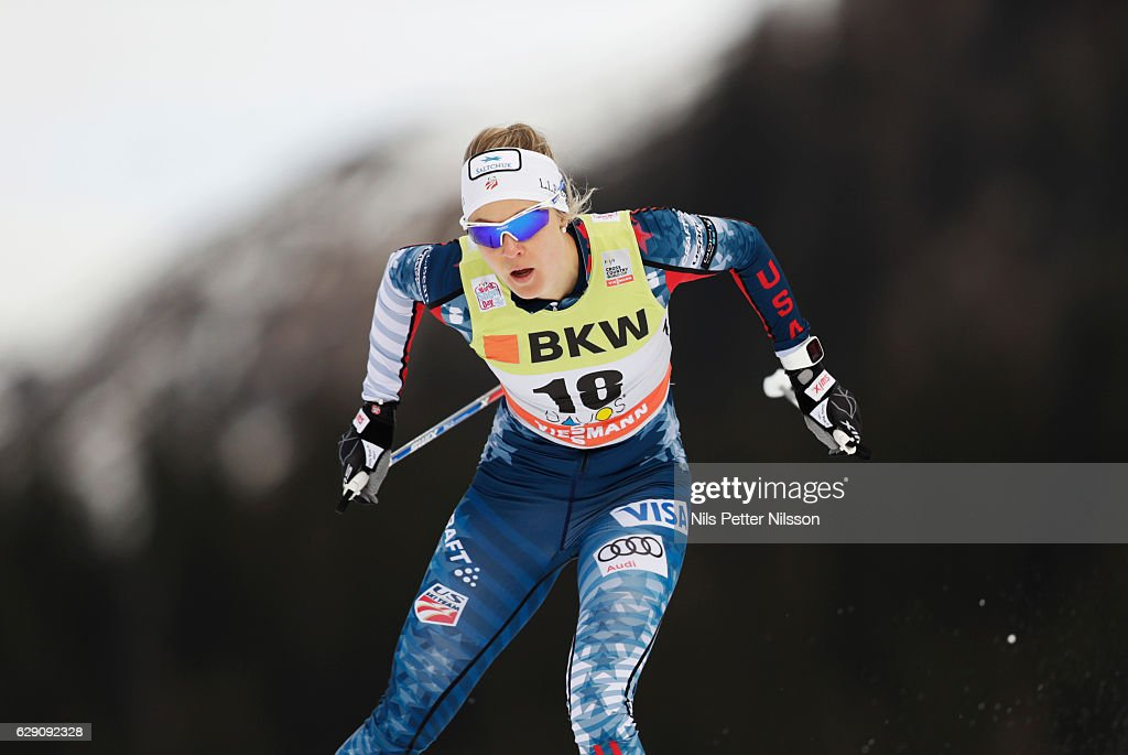 Sadie Bjornsen of USA during the Viessmann FIS Cross Country World Cup sprint qualification free technique on December 11, 2016 in Davos, Switzerland.