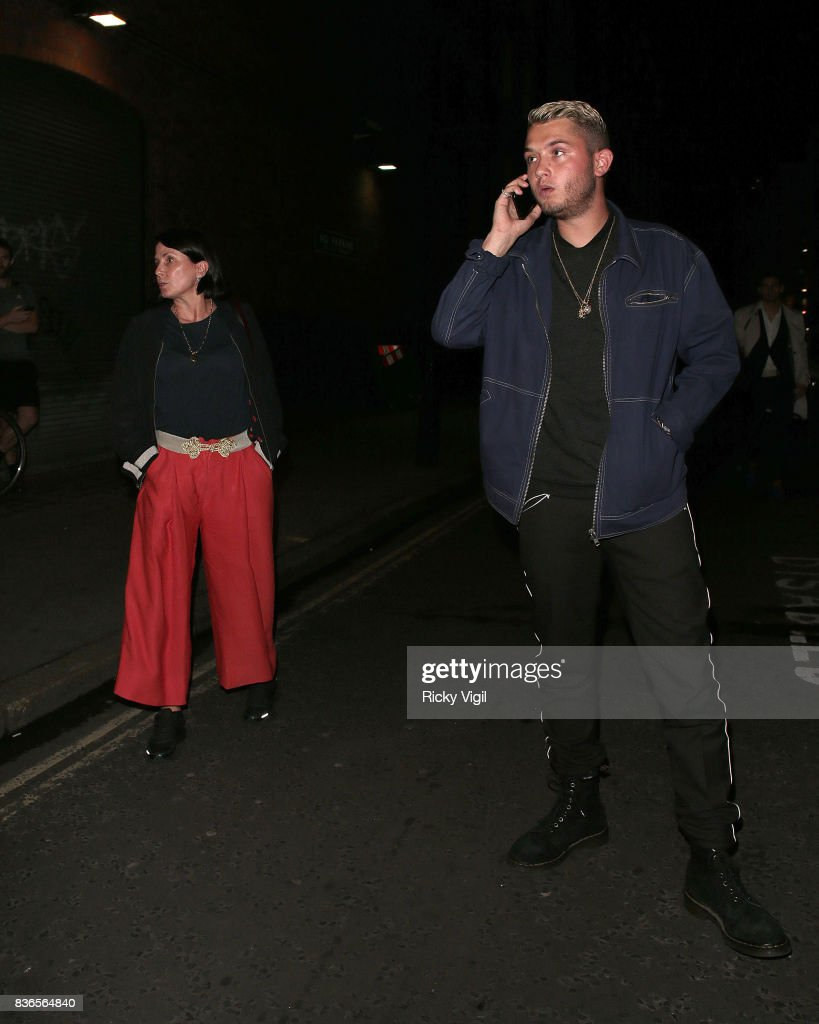 Sadie Frost and Rafferty Law leaving Apollo Theatre after watching Sienna Miller in Cat on a Hot Tin Roof on August 21, 2017 in London, England.