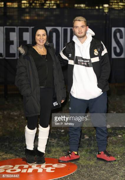 Sadie Frost and Rafferty Law pose for a photo during the Sleep Out Fundraiser at Greenwich Peninsula on November 16 2017 in London England The Sleep...