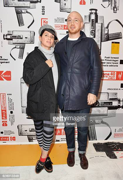Sadie Frost and Tom Beard attend a private view of artist Tom Beard's photography exhibition presented by Kodak Blonde To Black Pictures at The...