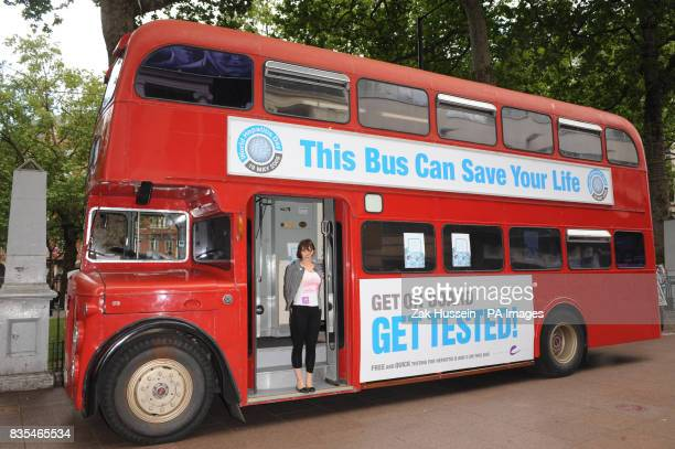 Sadie Frost is tested for hepatitis B and C on the first ever GET TESTED Bus for World Hepatitis Day 2009 in Leicester Square central London
