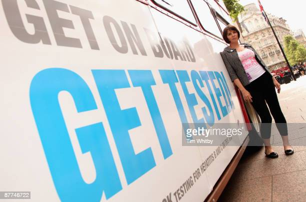 Sadie Frost poses for photographs before getting tested for Hepatitis B and Hepatitis C to promote getting tested ahead of World Hepatitis Day 2009...