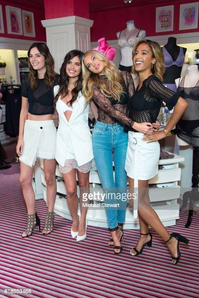 Sadie Newman Sara Sampaio Elsa Hosk and Madison Utendahl celebrate the TShirt Bra Collection at Victoria's Secret Fifth Ave on July 18 2017 in New...