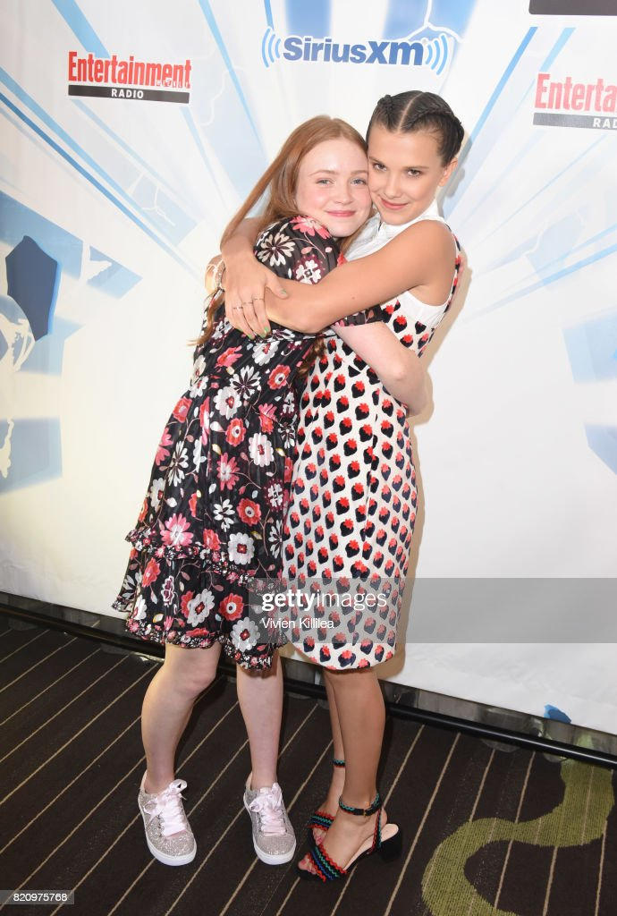 Sadie Sink and Millie Bobby Brown attend SiriusXM's Entertainment Weekly Radio Channel Broadcasts From Comic Con 2017 at Hard Rock Hotel San Diego on July 22, 2017 in San Diego, California.