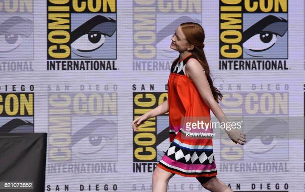 Sadie Sink attends Netflix's 'Stranger Things' panel during ComicCon International 2017 at San Diego Convention Center on July 22 2017 in San Diego...