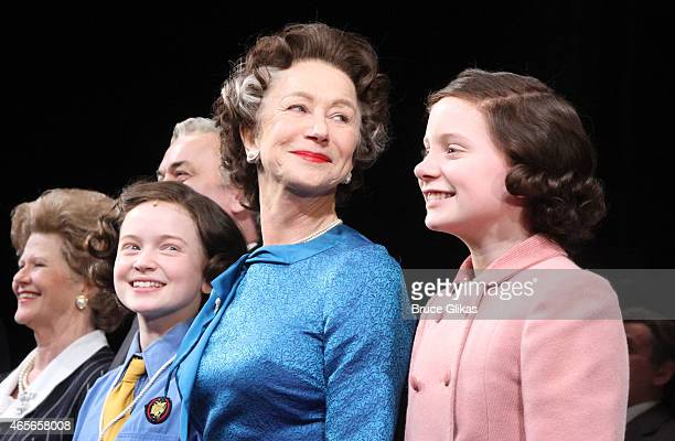 Sadie Sink Dame Helen Mirren as 'Queen Elizabeth' and Elizabeth Teeter take their curtain call at The Opening Night of 'The Audience' on Broadway at...