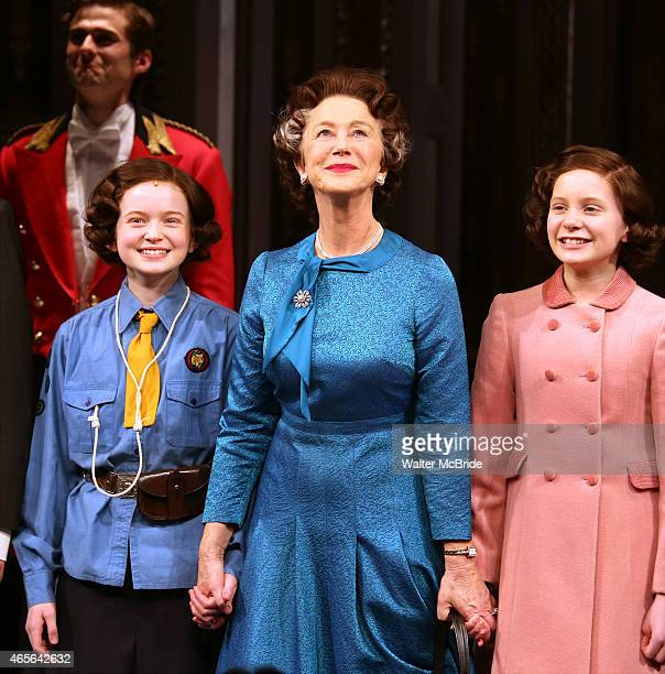 Sadie Sink Helen Mirren and Elizabeth Teeter take a bow during curtain call for the Broadway Opening night of 'The Audience' at the Gerald Schoenfeld...