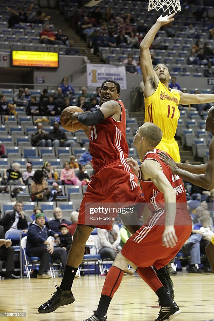 Sadiel Rojas #17 of the Fort Wayne Mad Ants battles Fab Melo #41 of the Maine Red Claws at Allen County Memorial Coliseum on November 25, 2010 in Fort Wayne, Indiana.