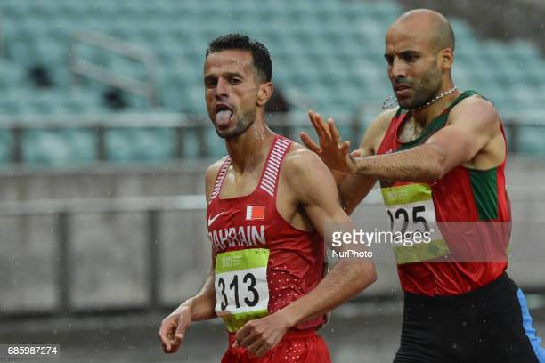 Sadik Mikhou of Bahrain wins Men's 1500m final ahead of Fouad Elkaam of Morocco during day five of Athletics at Baku 2017 4th Islamic Solidarity...